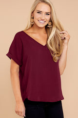 Story Live For It Dark Burgundy Top at reddressboutique.com