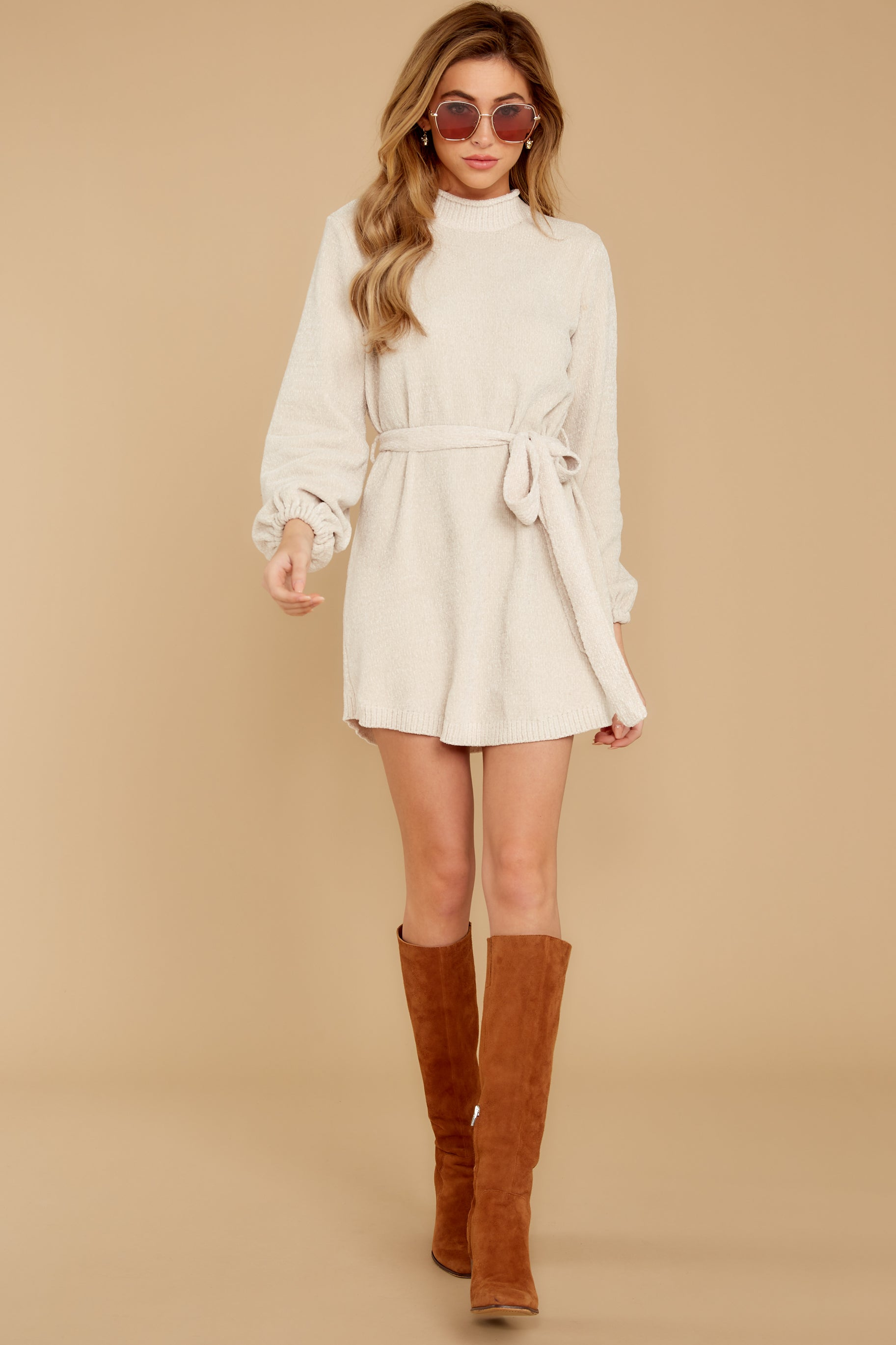 4 Found The One Ivory Chenille Sweater Dress at reddressboutique.com