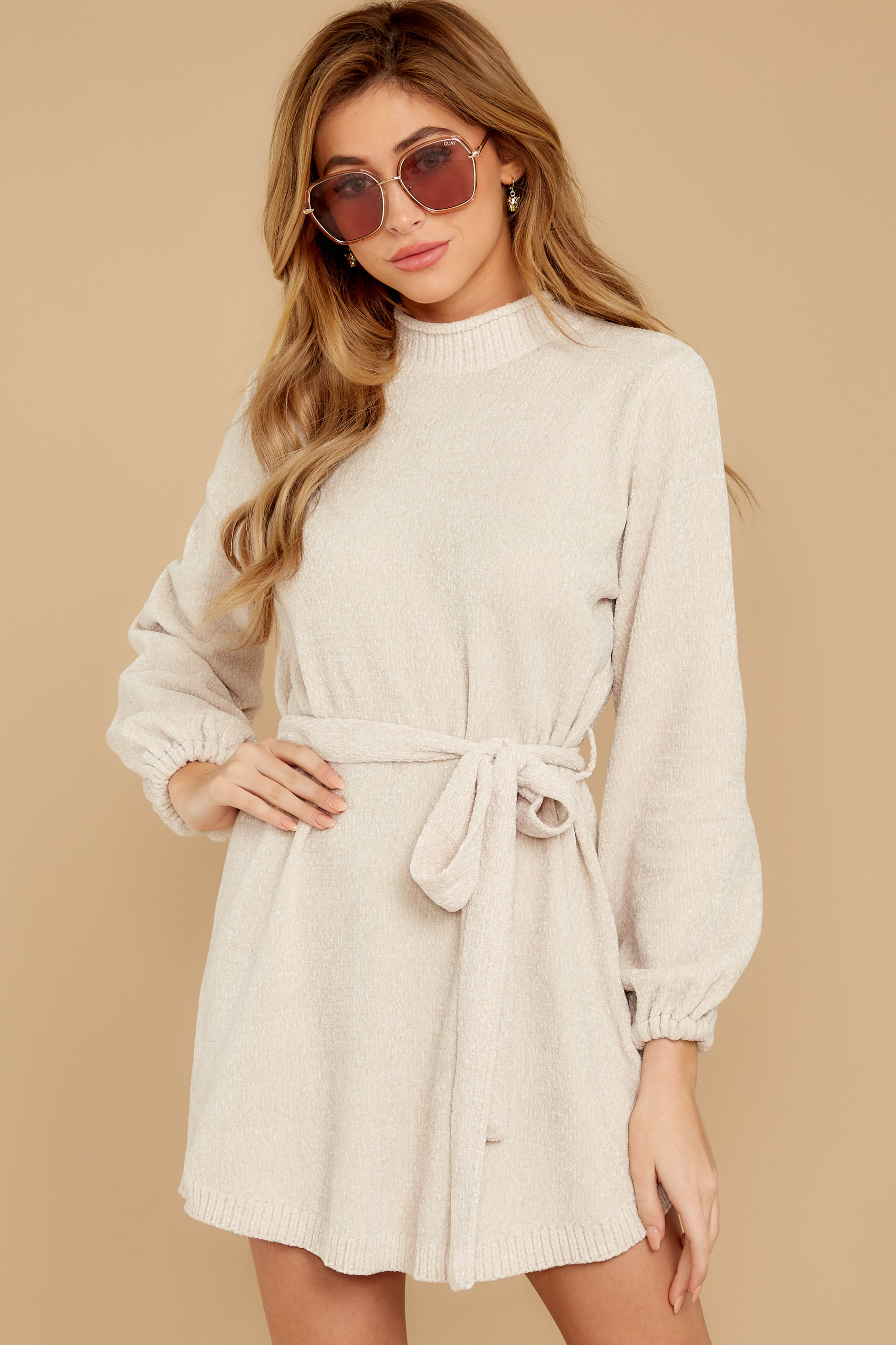 5 Found The One Ivory Chenille Sweater Dress at reddressboutique.com