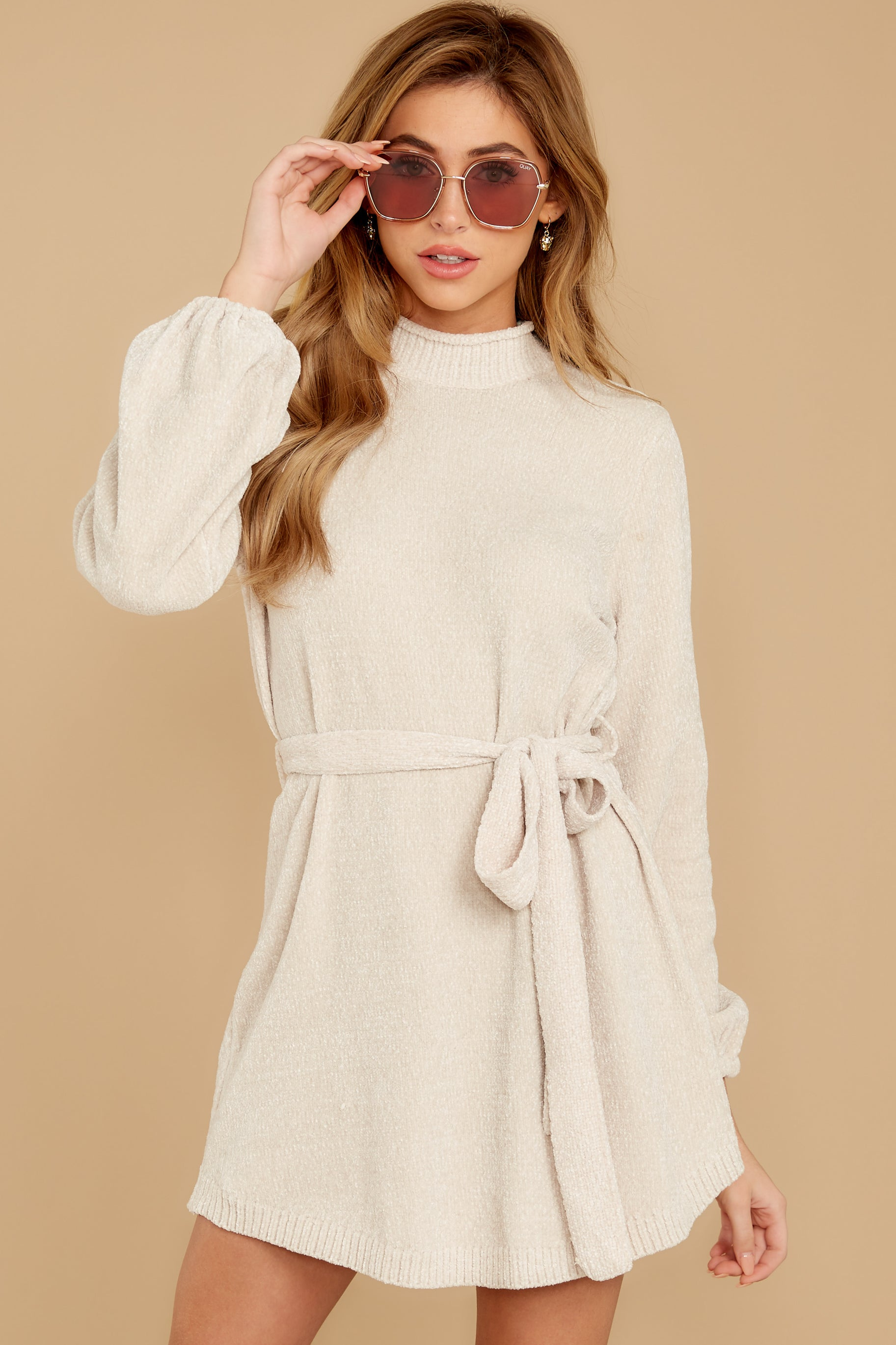 7 Found The One Ivory Chenille Sweater Dress at reddressboutique.com