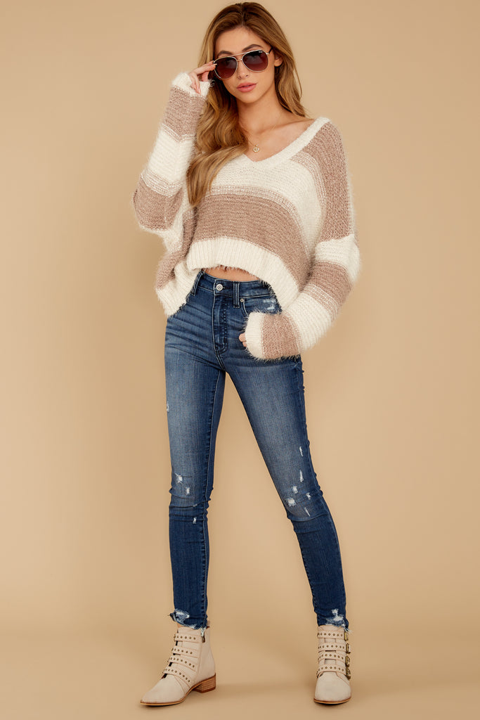 1 Find Your Happiness Mocha Stripe Sweater at reddressboutique.com