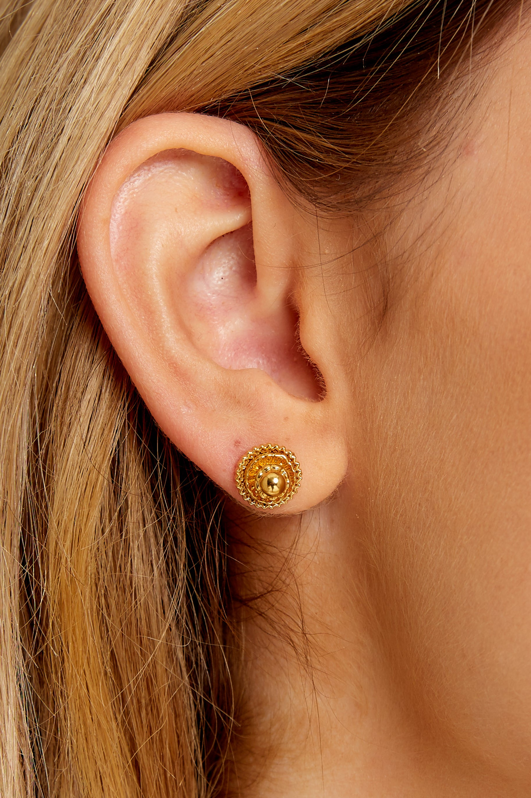 1 Magnolia Gold Stud Earrings at reddressboutique.com