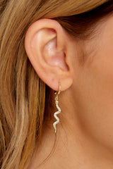 1 Keep Your Secrets Gold Snake Earrings at reddressboutique.com