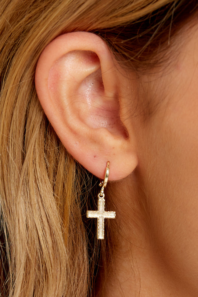 1 Hope Gold Cross Hoops at reddressboutique.com