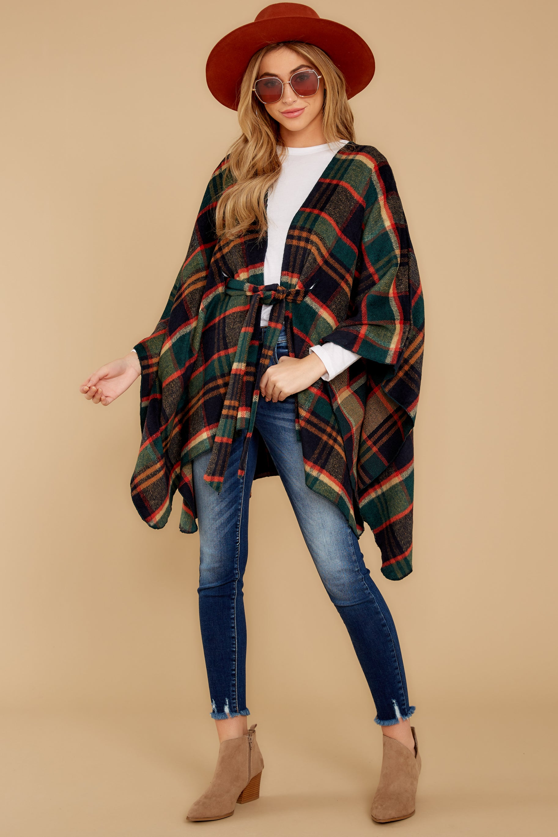 1 Meet Me At The Cabin Green Multi Plaid Poncho Cardigan at reddressboutique.com