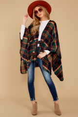 2 Meet Me At The Cabin Green Multi Plaid Poncho Cardigan at reddressboutique.com