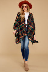 3 Meet Me At The Cabin Green Multi Plaid Poncho Cardigan at reddressboutique.com