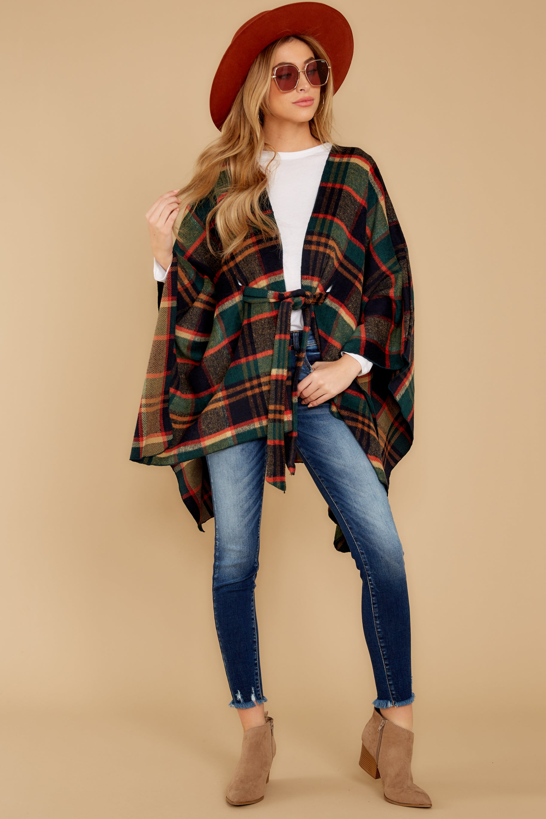4 Meet Me At The Cabin Green Multi Plaid Poncho Cardigan at reddressboutique.com