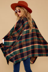 5 Meet Me At The Cabin Green Multi Plaid Poncho Cardigan at reddressboutique.com