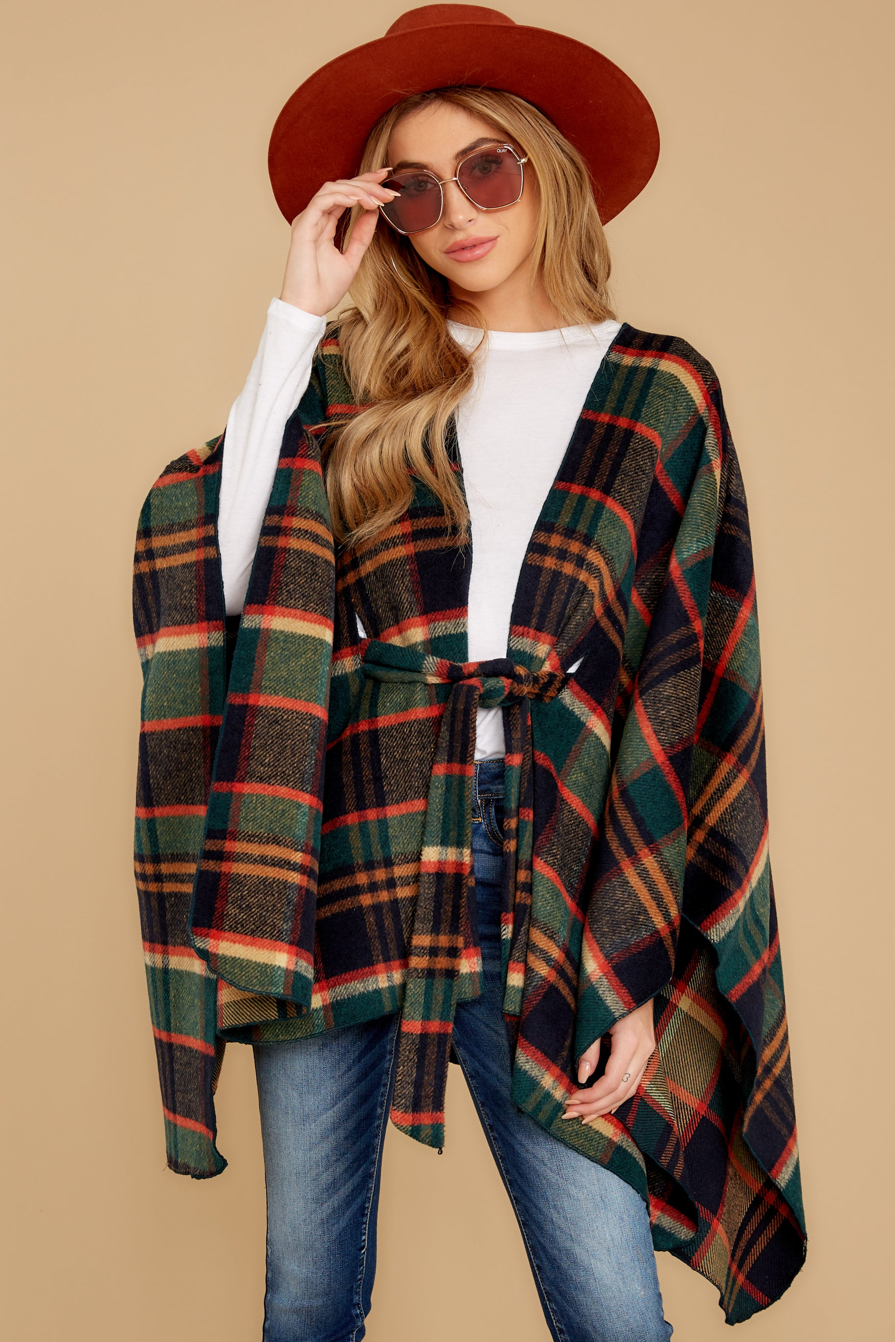 6 Meet Me At The Cabin Green Multi Plaid Poncho Cardigan at reddressboutique.com