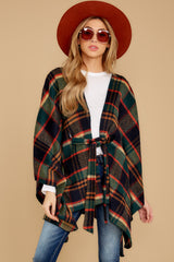 7 Meet Me At The Cabin Green Multi Plaid Poncho Cardigan at reddressboutique.com