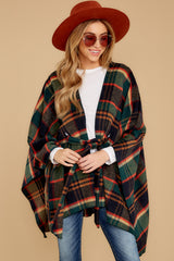 8 Meet Me At The Cabin Green Multi Plaid Poncho Cardigan at reddressboutique.com