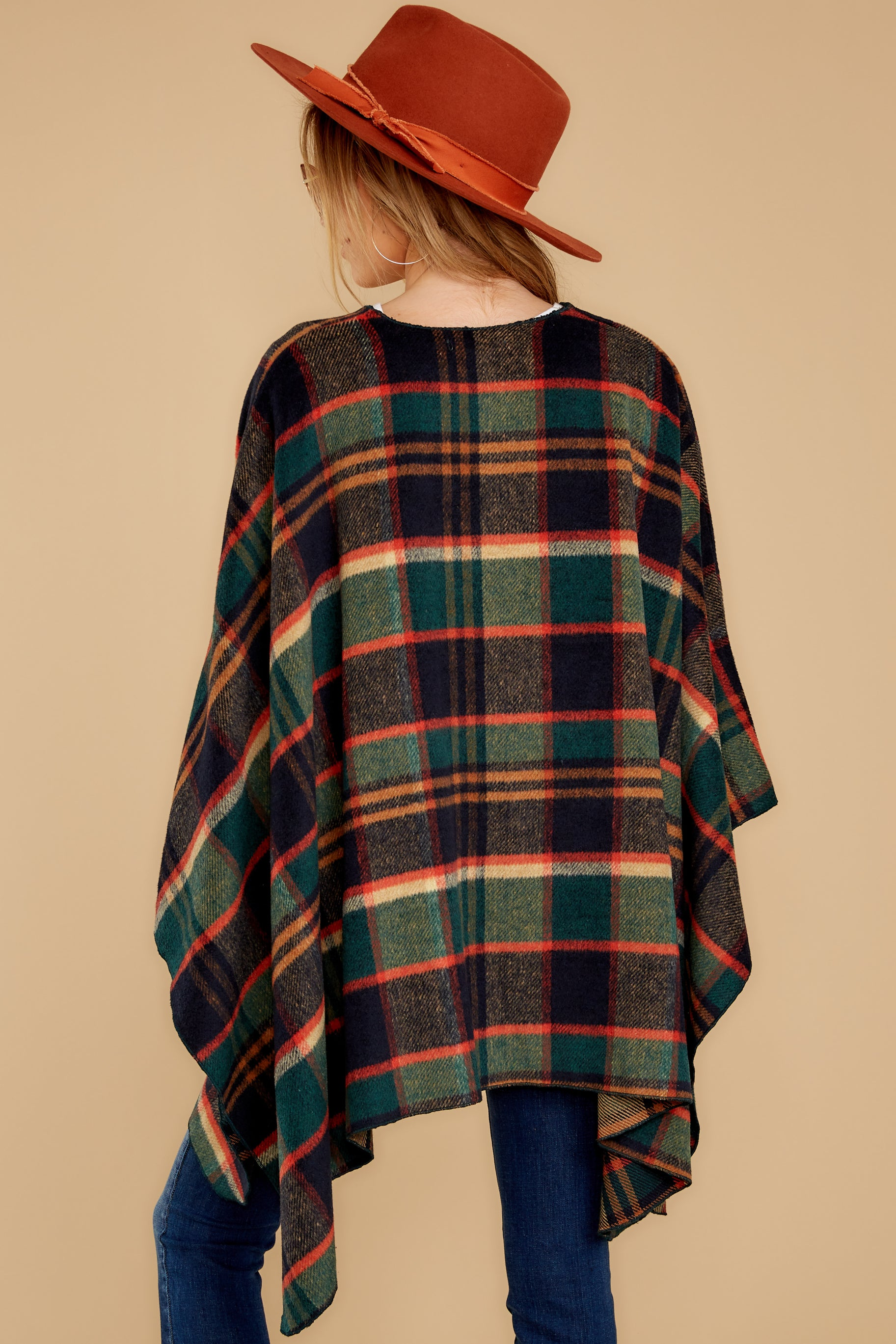 9 Meet Me At The Cabin Green Multi Plaid Poncho Cardigan at reddressboutique.com