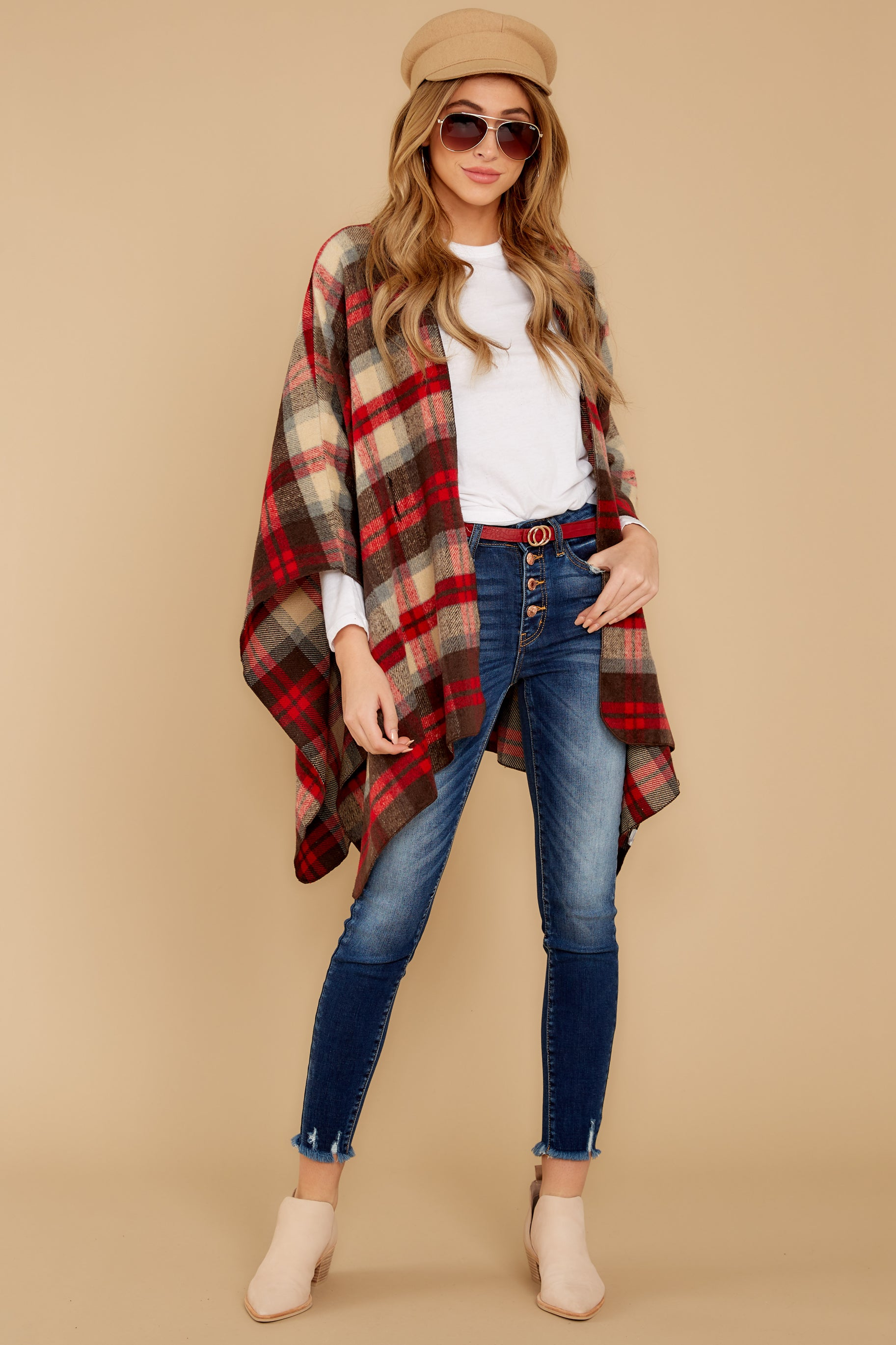 2 Meet Me At The Cabin Red Multi Plaid Poncho Cardigan at reddressboutique.com
