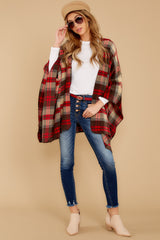 3 Meet Me At The Cabin Red Multi Plaid Poncho Cardigan at reddressboutique.com