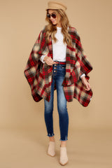 4 Meet Me At The Cabin Red Multi Plaid Poncho Cardigan at reddressboutique.com