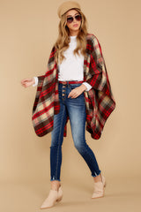 1 Meet Me At The Cabin Red Multi Plaid Poncho Cardigan at reddressboutique.com