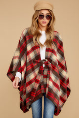5 Meet Me At The Cabin Red Multi Plaid Poncho Cardigan at reddressboutique.com