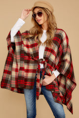 6 Meet Me At The Cabin Red Multi Plaid Poncho Cardigan at reddressboutique.com