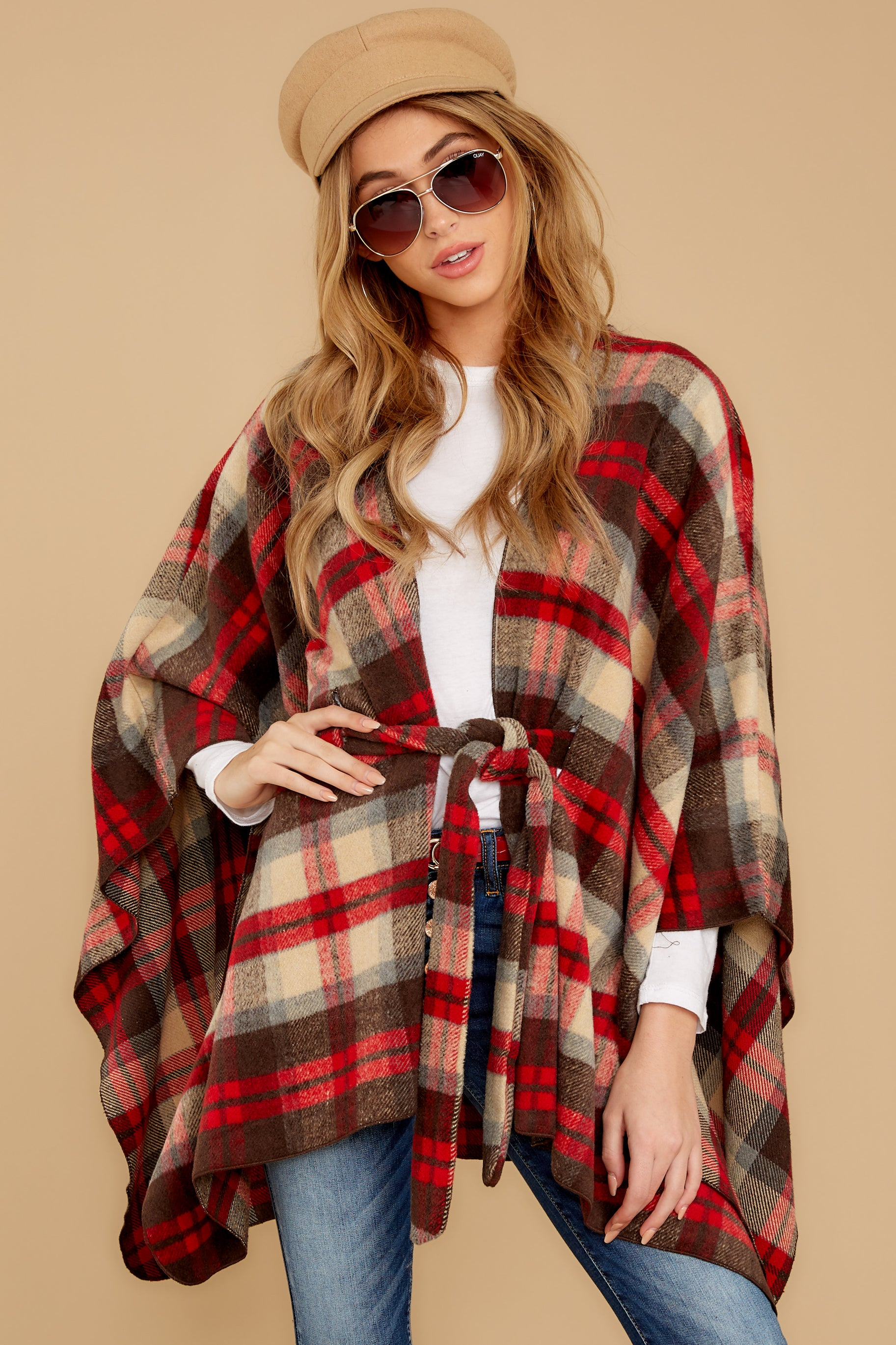 7 Meet Me At The Cabin Red Multi Plaid Poncho Cardigan at reddressboutique.com