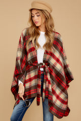 8 Meet Me At The Cabin Red Multi Plaid Poncho Cardigan at reddressboutique.com