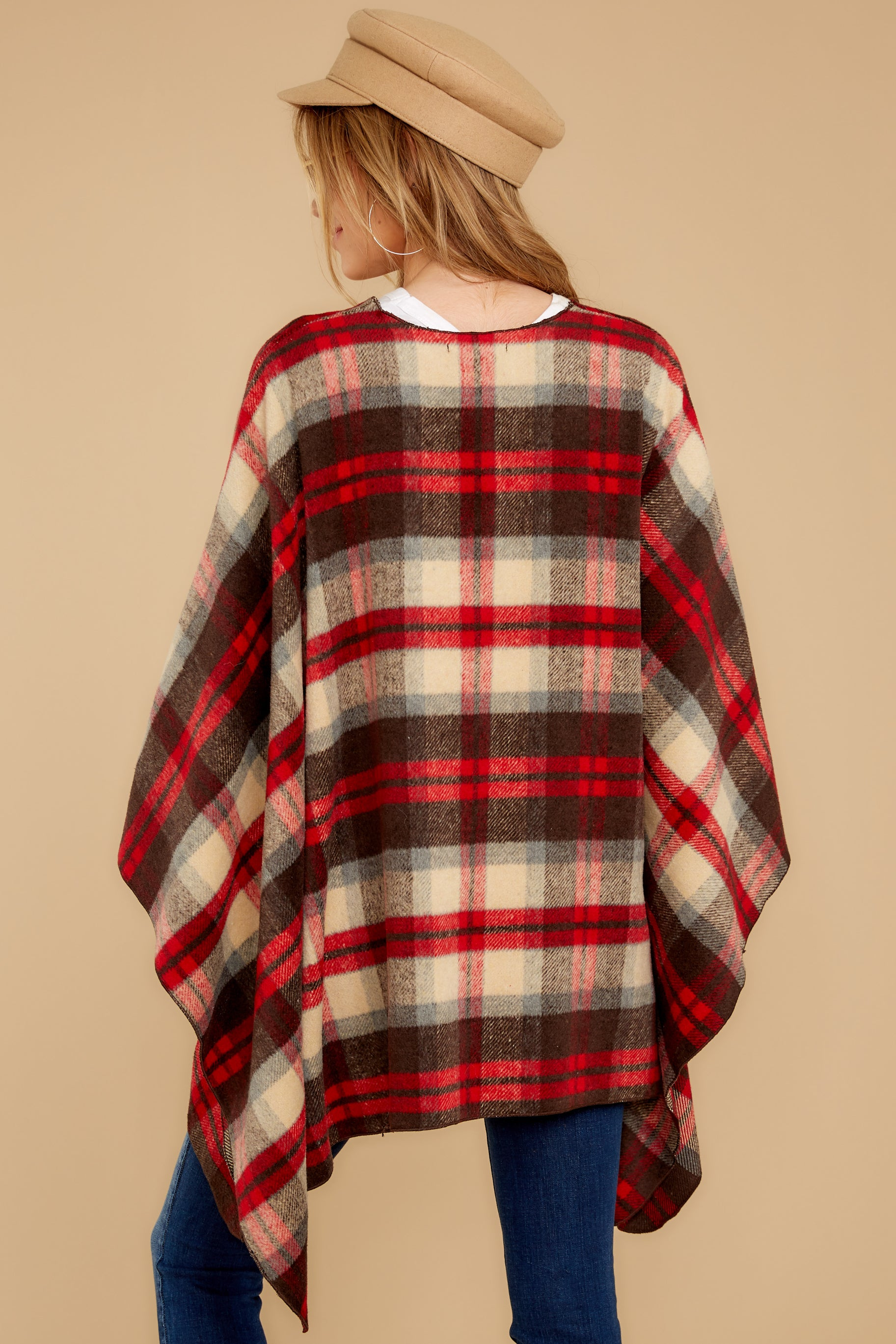 9 Meet Me At The Cabin Red Multi Plaid Poncho Cardigan at reddressboutique.com
