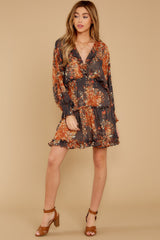 2 Date At The Vineyard Grey And Rust Floral Print Dress at reddressboutique.com