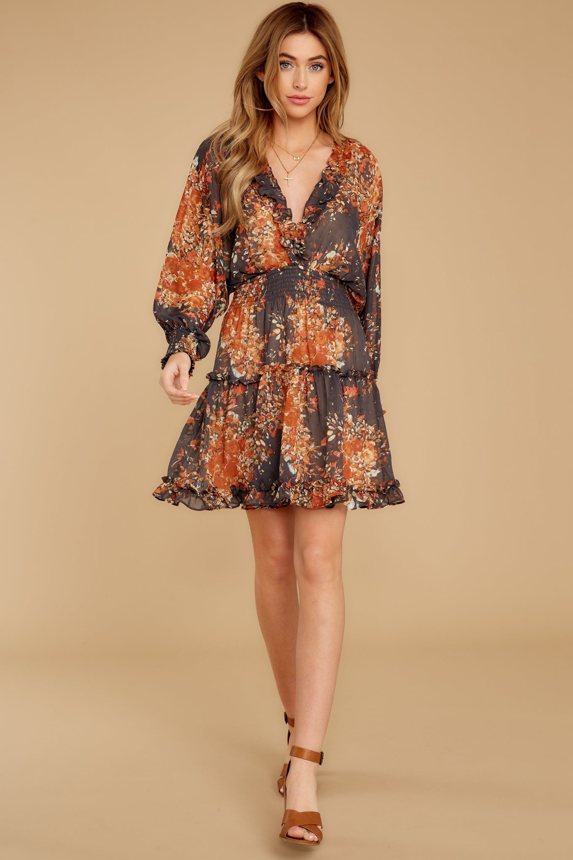 4 Date At The Vineyard Grey And Rust Floral Print Dress at reddressboutique.com