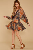 V-neck Sheer Shirred Drawstring Open-Back Elasticized Waistline Dolman Sleeves Floral Print Evening Dress With Ruffles