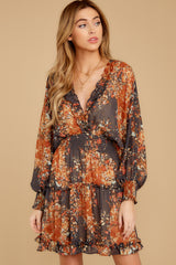 5 Date At The Vineyard Grey And Rust Floral Print Dress at reddressboutique.com