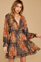 6 Date At The Vineyard Grey And Rust Floral Print Dress at reddressboutique.com
