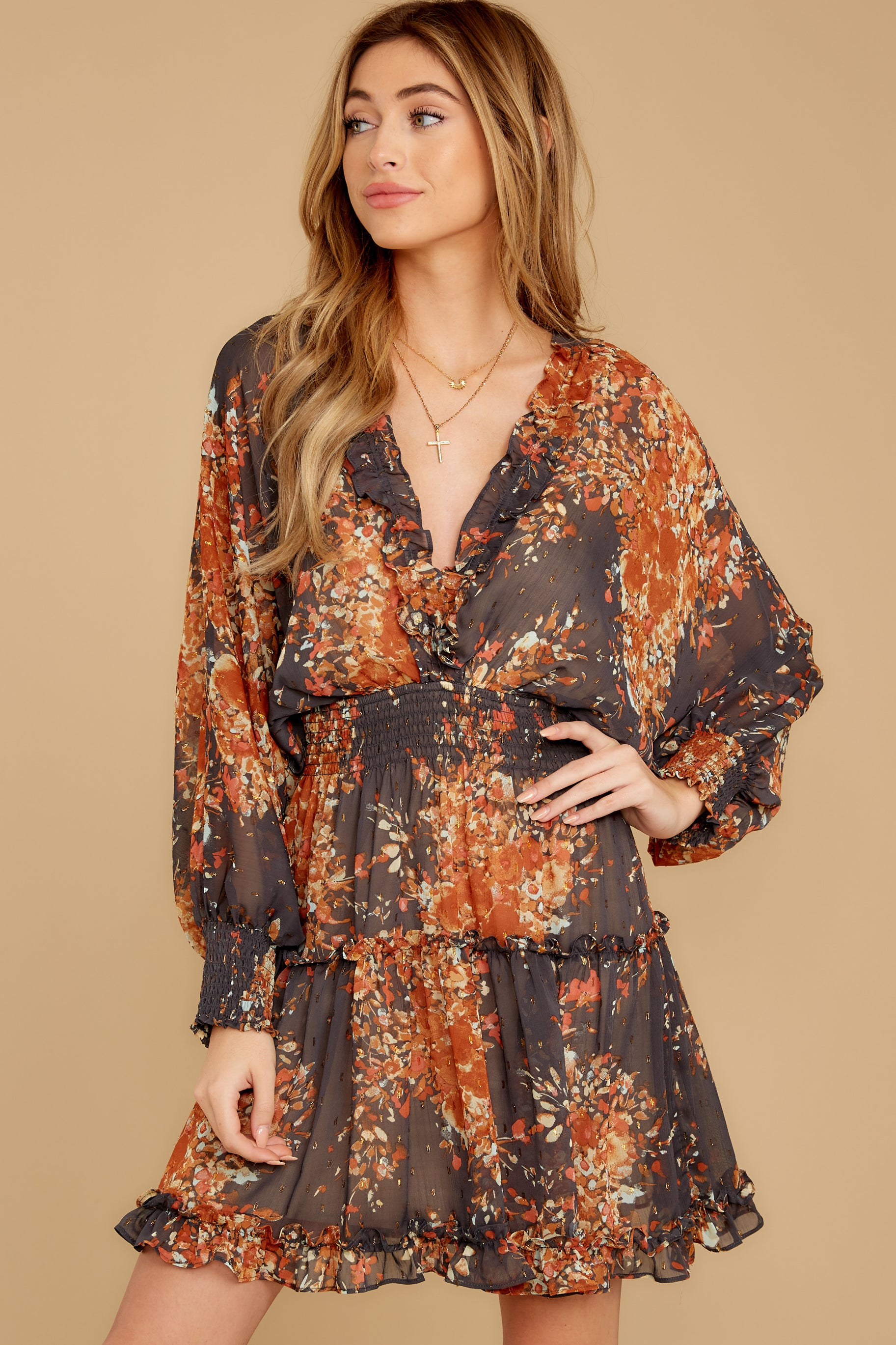 7 Date At The Vineyard Grey And Rust Floral Print Dress at reddressboutique.com