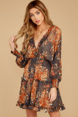 8 Date At The Vineyard Grey And Rust Floral Print Dress at reddressboutique.com