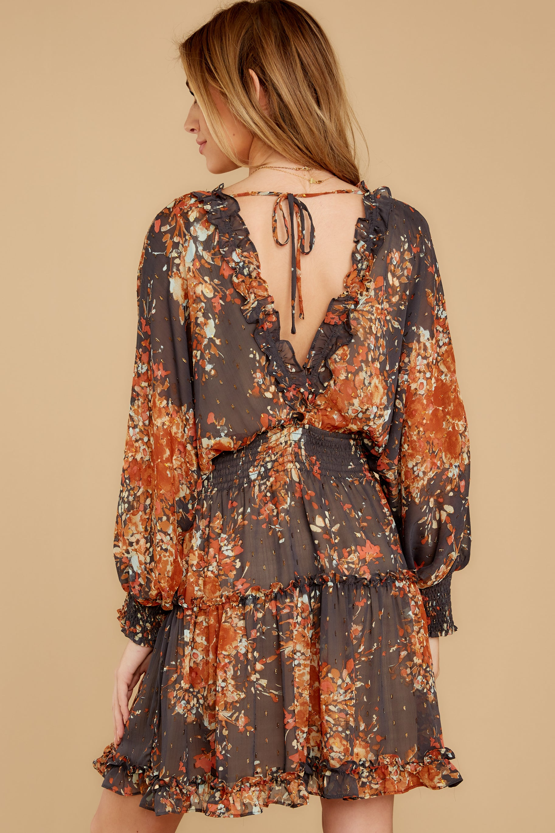 9 Date At The Vineyard Grey And Rust Floral Print Dress at reddressboutique.com