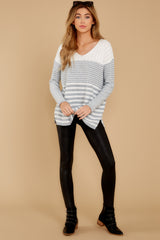 1 Even Now Grey Stripe Sweater at reddressboutique.com