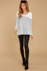 2 Even Now Grey Stripe Sweater at reddressboutique.com