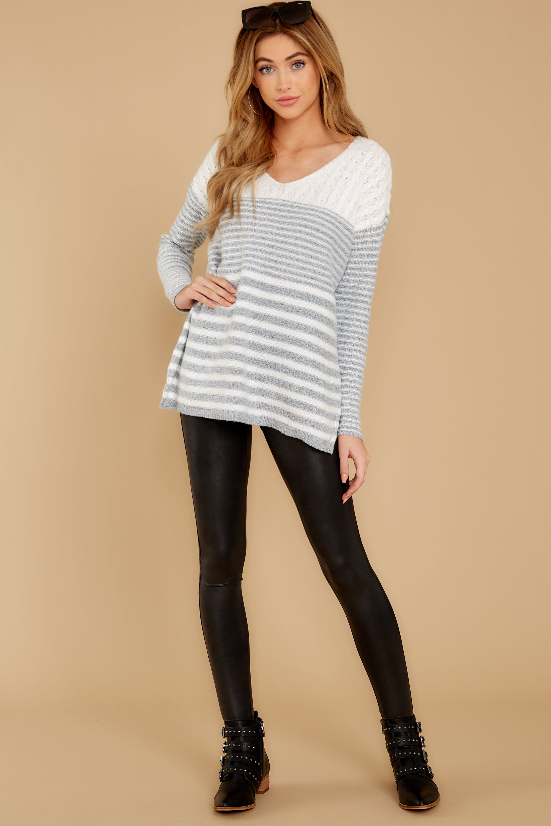 3 Even Now Grey Stripe Sweater at reddressboutique.com