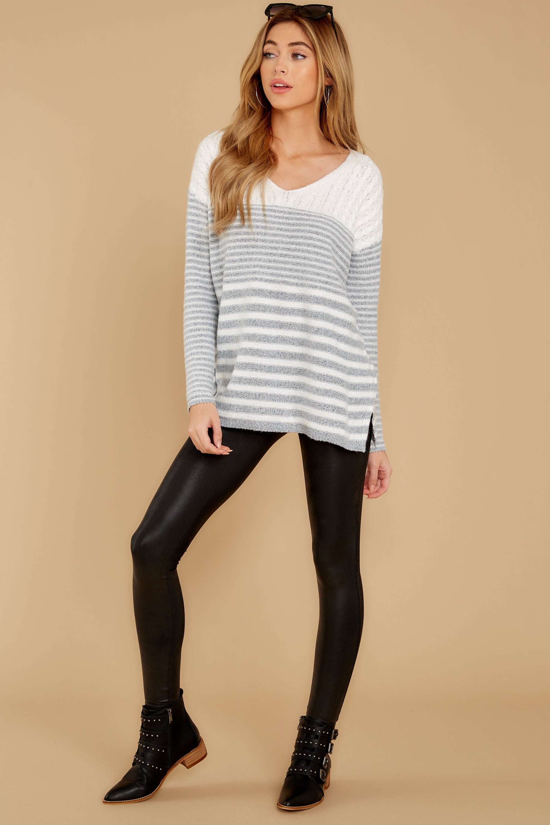 4 Even Now Grey Stripe Sweater at reddressboutique.com