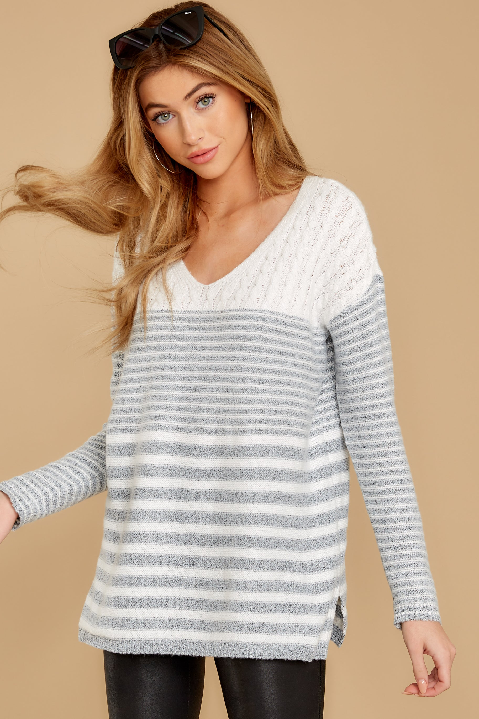5 Even Now Grey Stripe Sweater at reddressboutique.com