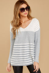 6 Even Now Grey Stripe Sweater at reddressboutique.com