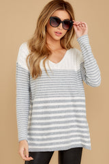 7 Even Now Grey Stripe Sweater at reddressboutique.com