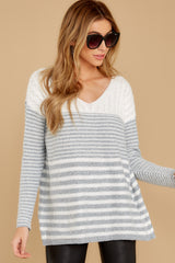 8 Even Now Grey Stripe Sweater at reddressboutique.com