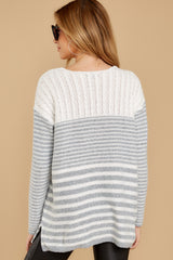 9 Even Now Grey Stripe Sweater at reddressboutique.com