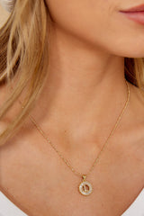 28 Before All Else L Gold initial Necklace at reddressboutique.com