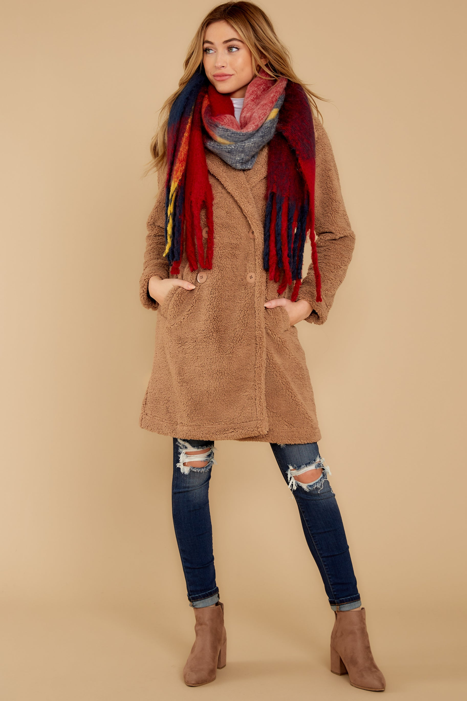 1 The Toffee Cozy Sherpa Coat at reddressboutique.com