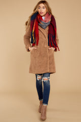 2 The Toffee Cozy Sherpa Coat at reddressboutique.com