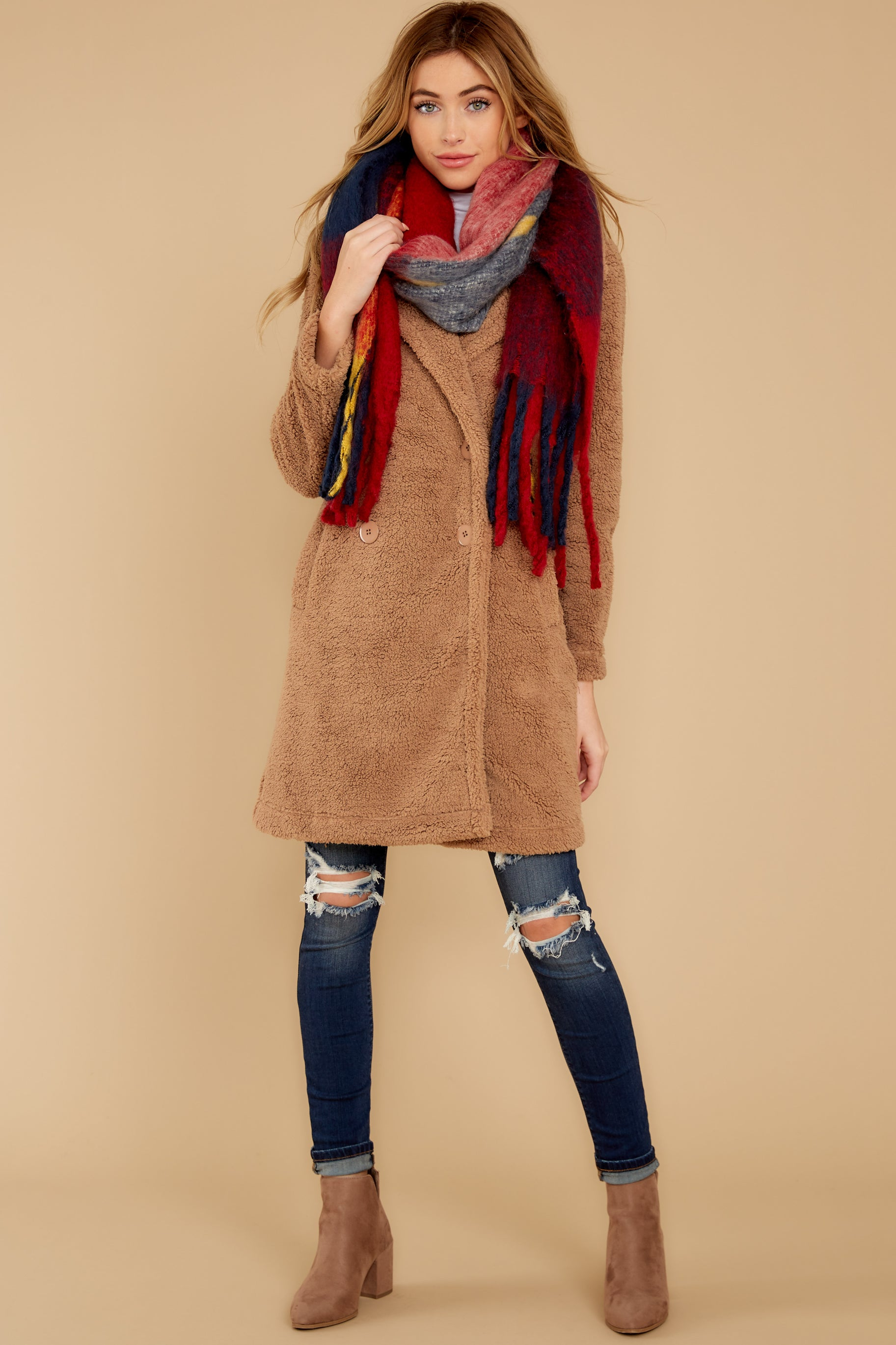 3 The Toffee Cozy Sherpa Coat at reddressboutique.com