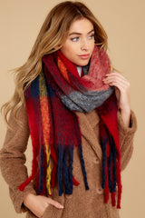 3 Wrapped In Warmth Red Multi Scarf at reddress.com