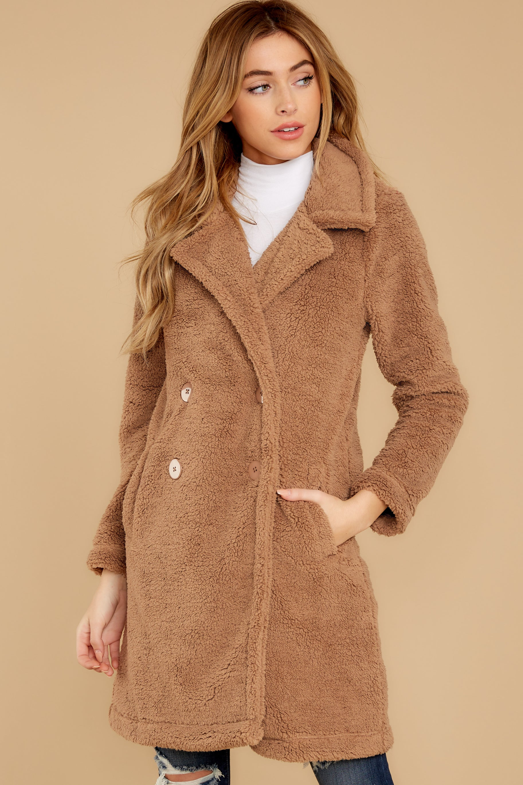 4 The Toffee Cozy Sherpa Coat at reddressboutique.com
