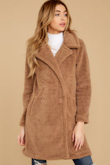 5 The Toffee Cozy Sherpa Coat at reddressboutique.com